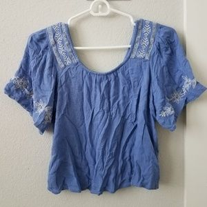 Boho periwinkle cropped top XS